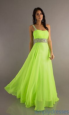 Full Length One Shoulder Chiffon Gown at PromGirl.com