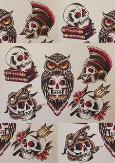 Traditional Greek Skull Flash | Etsy Traditional Tattoo Skull, Traditional Tattoo Sketches, Tattoo Flash Sheet, Tattoo Flash Art, Traditional Flash, American Traditional, Halloween Tattoo Flash, Calavera Tattoo, Clover Tattoos