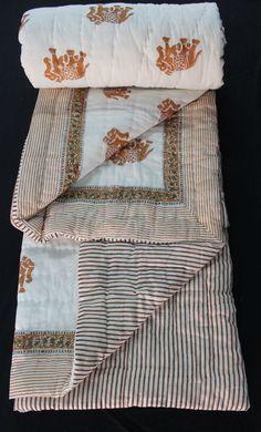 Hand Block Printed Jaipuri Razai Solid White Cotton Print hand Filling Quilt KH6 #KhushiHandicraft #ArtDecoStyle