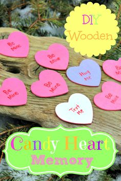 Celebrate Valentine's Day with this DIY Wooden Candy Heart Memory Game! Creative Activities For Kids, Creative Kids, Crafts For Kids, Preschool Ideas, Fun Activities, Teaching Ideas, Craft Ideas, Preschool Valentine Crafts, Memory Games For Kids