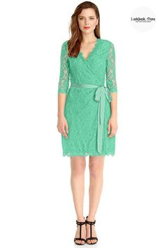 Designer Style // Match this mint green lace overlay plunge wrap-style dress with your equally fabulous high heels to nail that perfect spring look.