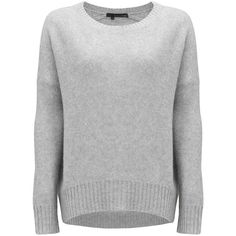 360 SWEATER Dewey Cashmere Sweater - Heather Grey ($220) ❤ liked on Polyvore featuring tops, sweaters, shirts, heather grey, loose long sleeve shirt, fitted shirts, loose fitting sweaters, loose shirt and cut loose shirt