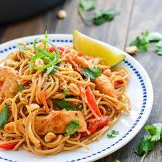 Healthy Thai Peanut Noodles made with whole wheat spaghetti.