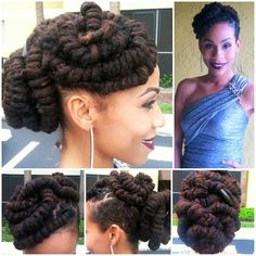 1st attempt at the Barrel Roll Updo and I did pretty good (got my cosmetology license via YouTube yesterday lol) #wedding #curlbox #luvyourmane #locs #naturalhairdaily