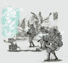 """theblueboxboy: Steampunk Ghostbusters t-shirt designed by Riccardo Bucchioni titled """"Bustin' Made Them Feel Good""""."""