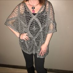 "NWOT Boho Silver open weave poncho NWOT poncho done in a large open weave with grey & silver yarn. No size tag but it would fit a S through a L, depending on how you like to wear them. I'm a S and you can see from pics how it fits on me. 39"" across & 22"" from top to bottom. I'm open to offers & give bundle discounts! ☮❤️✌️ Chico's Tops"