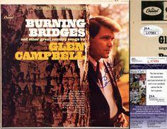 "GLEN CAMPBELL Hand Signed LP Cover - ""Burning Bridges"" - JSA COA - UACC RD#289 in Collectibles, Autographs, Music   eBay"