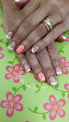 Coral French with Floral Accent