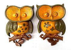 PAIR OF VINTAGE RETRO 1970s SEXTON CAST IRON METAL OWL