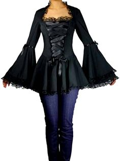 Amazon.com: -Gothic Romance- Black Bell Sleeve Ribbon Lace Corset Victorian Steampunk Top: Clothing  https://www.amazon.com/gp/product/B013O40KCG/ref=as_li_qf_sp_asin_il_tl?ie=UTF8&tag=rockaclothsto_gothic-20&camp=1789&creative=9325&linkCode=as2&creativeASIN=B013O40KCG&linkId=7eea7a4b9876d6433c0dccc2b27da984