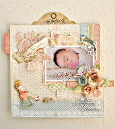 Today we have a beautiful layout by @Maiko Miwa using Little Darlings. Click on the photo to see more details of how she created this great LO! #graphic45 #layouts