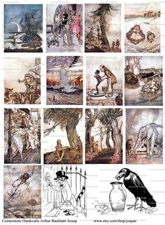 Collage Sheet VINTAGE Arthur Rackham Aesops Fables by joapan, $1.49