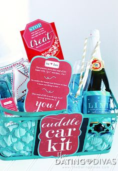 Romantic Date Night Gift Basket for boyfriend, husband, or another couple {wedding gift?}