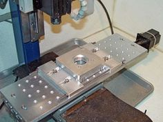 Homemade CNC mill vise/clamp fabricated from aluminum, stainless steel threaded rod, and hardware. Homemade Cnc, Metal Fabrication, Milling, Cnc Router, Clamp, Metal Working, Hardware, Projects, Dan