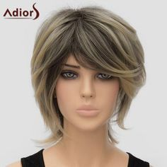 Fluffy Women's Adiors Inclined Bang High Temperature Fiber Wig