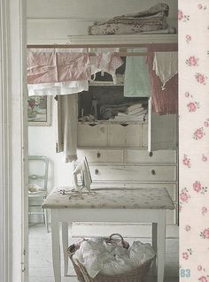 Shabby chic laundry room with table turned ironing board. Fee Du Logis, What A Nice Day, Ivy House, Grandma's House, Cottage House, Vintage Laundry, Deco Originale, Doing Laundry, Cottage Style