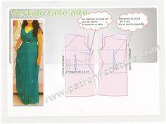 Patrón y costura : DIY vestido talle alto.Tema 110