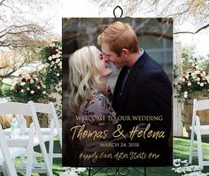 Welcome wedding sign with photo printable personalized, custom entrance welcome photo sign for wedding birthday party or retirement DIGITAL Included: - one JPG 18x24 - one JPG 24x36 Please let me know if you prefer another size or file format (PDF, 11x14, 16x20, 20x30 inch, A1,