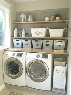 13 Laundry Room Ideas I Found for Inspiration ~ Bluesky at Home - Haus Dekoration 13 Awesome Laundry Room Ideas I Found for Inspiration. My laundry room makeover needs some practical Laundry Room Organization, Laundry Storage, Laundry Room Design, Closet Storage, Storage Room, Storage Ideas, Organization Ideas, Storage Buckets, Storage Shelves