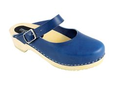 Lotta from Stockholm Slip In Low Heel Closed Toe Wooden Mule Clogs in Blue Italian, Chrome Free, Vegetable Tanned Leather.