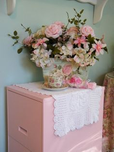Painted File Cabinet in pastel pink****PAINT A  METAL FILE CAB PIIIIINK***