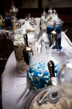 blue and white candy buffet