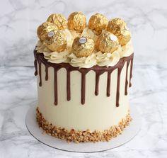 Elegant Birthday Cakes, 21st Birthday Cakes, Beautiful Birthday Cakes, Simple Birthday Cake Designs, Birthday Drip Cake, Cake Decorating Designs, Creative Cake Decorating, Birthday Cake Decorating, Chocolate Birthday Cake Decoration