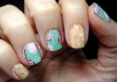 Parchment & Lace Flowers! nail art by Samantha Rae