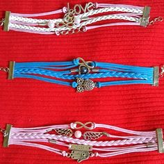 Pink blue infinity bracelets Lot of three (3) Jewelry Bracelets