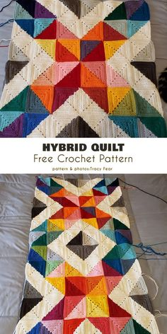 Hybrid Quilt Free Crochet Pattern This triangular half-square pattern combines both traditional complete squares and ones made of two triangular half-squares.