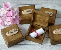 "Will you be my bridesmaid gift box Maid of Honor Proposal Box Keepsake Sister Mother of the Bride gift Bridesmaid gift Box Wooden Box set of    This listing is for one box. If you need more, please select the number of boxes you need from ""quantity""    MATERIAL and DECORATION: Wooden box in rustic woodland look. Closing with magnets. Adorned with a piece of wood (on the lid) engraved with the name you want.  Inside, a message: 'Will you be my Bridesmaid?', 'Will you be my maid of honor?' or…"