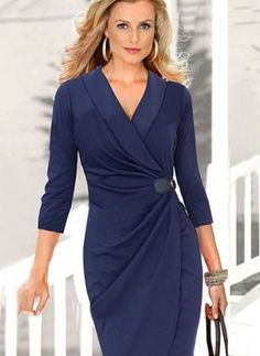 Solid V-Neckline Sleeves Knee-Length A-line Dress Day Dresses, Casual Dresses, Dresses For Work, Buy Dress, Wrap Dress, Affordable Dresses, Trends 2018, Mode Outfits, Costume Accessories