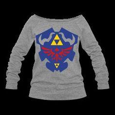 Much Needed Merch | Hylian Shield Womens Wide Neck Sweatshirt S-XXL | Online Store Powered by Storenvy