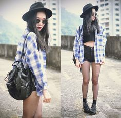 Choies Plaid Shirt, Younghungryfree Backpack