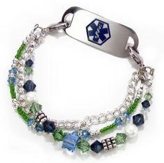 http://www.my-medical-id.com/womans-elegant-medical-alert-jewelry Our Exclusive Carnival Medical ID Bracelet with 11 medical ID tags to choose from #bright and cheery medical bracelet with your info engraved on the back #medical bracelet for women or tweens