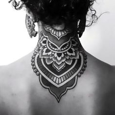 Mandala on Back of Neck Tattoo Idea