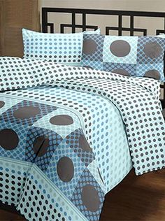 The patterned polka dots on this double bedsheet, with two pillow covers will lend a sense of symmetry to your room. The 100% cotton fabric offers optimum comfort and luxury. Its premium quality ensures that the colours will remain vibrant after multiple washes. You will feel cared for and comforted every time you slip under the sheets. The look, feel, and quality makes this set a complete package. Getting out of bed will be harder than ever! Info Getting Out Of Bed, Bed Sheets, Comforters, Pillow Covers, Cotton Fabric, Vibrant, Polka Dots, Colours, Blanket
