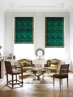 A long-time seasonal favorite, malachite falls somewhere in the middle of bright and dark. And, it's a perfect accompaniment to other rising fall stars like pink and lavender. Tour the entire home.   - ELLEDecor.com