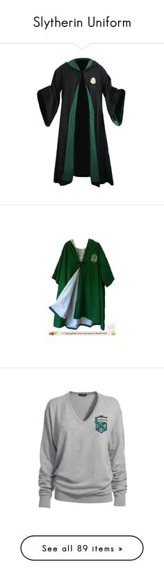 """""""Slytherin Uniform"""" by littlemisstoxin ❤ liked on Polyvore featuring intimates, robes, harry potter, hogwarts, slytherin, jackets, tops, costumes, shirts and adult halloween costumes"""