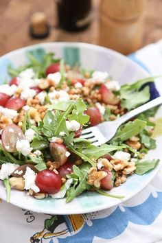 Packed with incredible flavor and nutrition, this Wheat Berry and Arugula Salad with Grapes and Nuts will quickly become your new favorite salad!