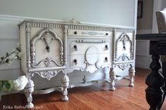 to Anh - Antique Ornate Carved Jacobean Hand Painted Distressed Grey Buffet Sideboard Hand Painted Furniture, Refurbished Furniture, Paint Furniture, Repurposed Furniture, Furniture Makeover, Old World Furniture, Painted Cottage, Decoupage, Sideboard Buffet