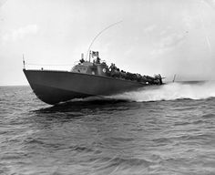 """PT 84, one of the first of the Higgins 78-foot boats underway in 1942. Used in the publication by Captain Robert J. Bulkley, Jr., USNR, """"At Close Quarters,"""" Page 57. Official U.S. Navy photograph, now in the collections of the National Archives."""