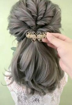 Hairstyles For Medium Length Hair Easy, Hair Tutorials For Medium Hair, Up Dos For Medium Hair, Cute Hairstyles, Quick Easy Hairstyles, Medium Hair Styles, Short Hair Styles, Hair Cutting Techniques, Triangle Hair