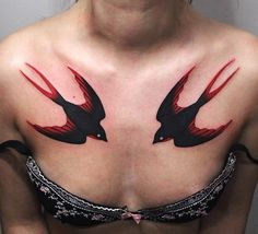 Swallow chest tattoo for women - 100+ Lovely Swallow Tattoos