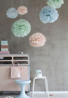 Tissue Paper Balls set of 10 - Pastel blue green pink - Hanging Flowers - Paper Pom Poms - Paper Flowers - Vintage decorations Tissue Paper Ball, Paper Balls, Tissue Paper Flowers, Paper Poms, Deco Pastel, Pastel Mint, Pretty Pastel, Casa Color Pastel, Pastel Colors