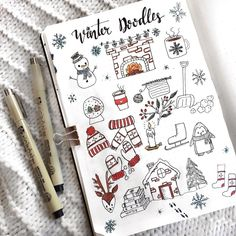 15 Christmas Doodles For Your Bullet Journal - Bullet Planner Ideas - - Step by step Christmas doodles that you need to try in your bullet journal! Spice up your spreads with these simple doodles. Bullet Journal Doodles, 2017 Bullet Journal, Bullet Journal Christmas, December Bullet Journal, Bullet Journal Cover Page, Bullet Journal Layout, Journal Covers, Minimalist Calendar, Scrabble Kunst