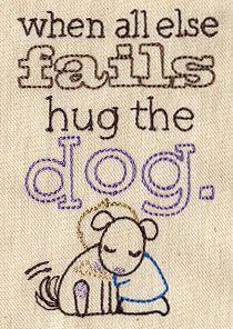 "Hug the Dog design (UT5593) from UrbanThreads.com 2.52""w x 3.82""h 27 April n2013"