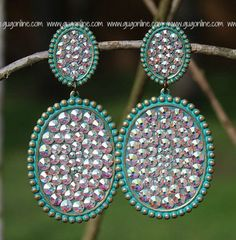 Pink Panache Large Turquoise Double Oval Earrings with AB Crystals