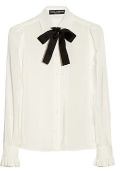 Dolce & Gabbana Silk crepe de chine pussy-bow blouse | NET-A-PORTER Get it here:http://rstyle.me/n/dckk6wx26