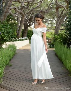 e8641346ba971 Discount New One Shoulder Pregnant Dress Ankle Length Wedding Party Dress  Maternity Wedding Dress Long Summer